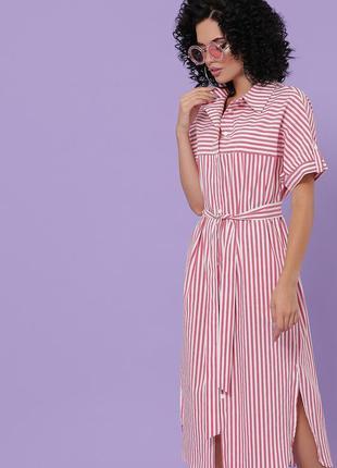 Плаття-сорочка в полоску з поясом / платье-рубашка