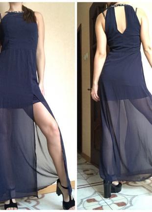 Темно-синее вечернее длинное платье