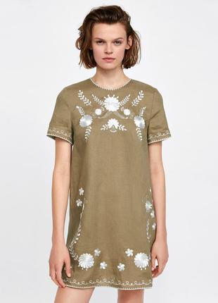 Льняное платье с вышивкой от zara