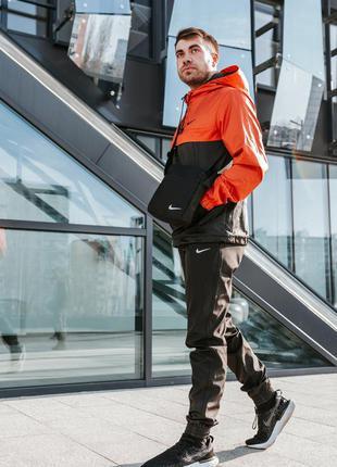 Спортивный костюм мужской найк, nike оранжево - черный + барсе...