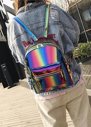 Молодежный женский светящийся радужный рюкзак angelika