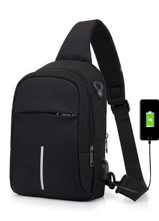 Городской мужской рюкзак city bag c usb портом, черный