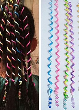 Силиконовые спиральки для волос, 6 шт в наборе