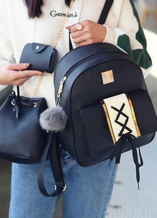 Красивый набор 3 в 1 рюкзак, сумка, визитница victory, 3 цвета...