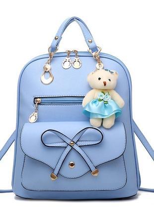 Женский городской рюкзак с брелком мишка тедди, 5 цветов