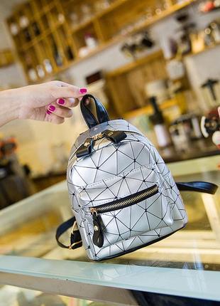 Молодежный женский геометрический рюкзак из эко-кожи diamond, ...