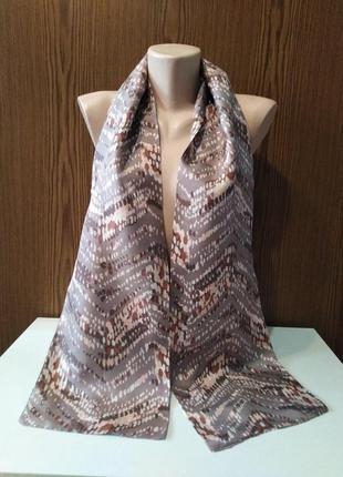 Натуральный шелк, двухслойный двухсторонний шарфик, лента твил...