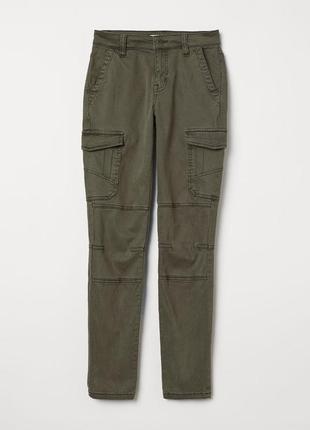 Брюки штаны карго с накладными карманами от h&m