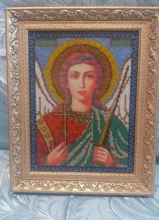 Вышитая бисером икона (Ангел хранитель)