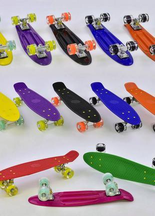 Скейт пенні борд 55см, колеса 6см., ABEC-7, 70кг. (рожевий)