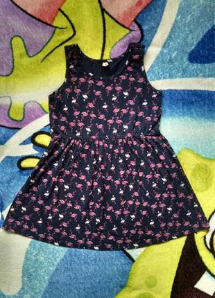 Летнее платье,сарафан с фламинго для девочки 5-6 лет