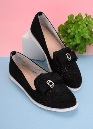 Женские черные балетки туфли