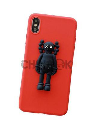 Чехол CAWS красный для iPhone XR