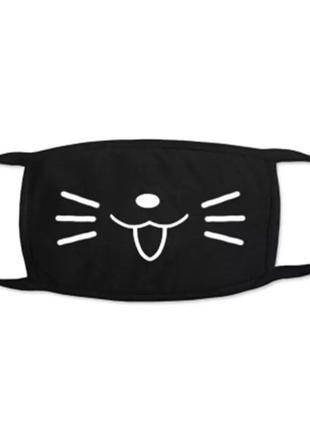 Модная чёрная гладкая маска кошечка кошачья мордочка двухслойн...