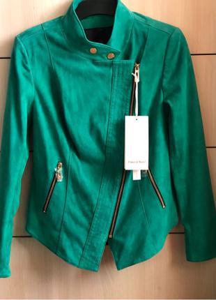 Новая замшевая кожаная зелёная куртка косуха М L