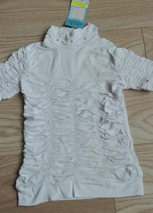 Белая футболка под горло, в школу, на 8 - 10 лет