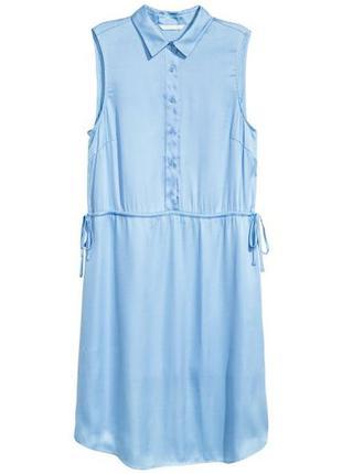 Платье рубашка небесного цвета