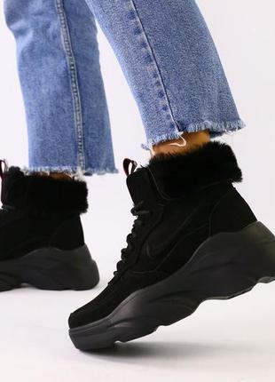 Женские череые зимние ботинки