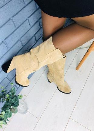 Шикарные женские высокие сапоги на удобном каблуке