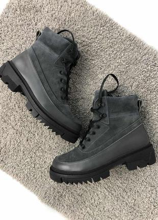 Женские зимние серые ботинки