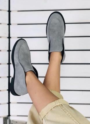 Женские деми ботинки лоферы серые