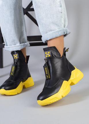 Женские демисезонные кожаные ботинки