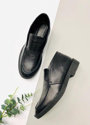 Женские кожаные туфли лоферы черные