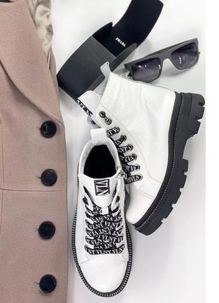 Женские кожаные белые деми ботинки