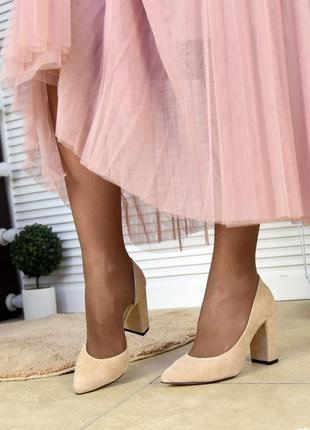 Женские замшевые туфли инаиудобном каблуке