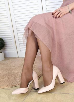 Женские кожаные туфли пудра