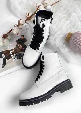 Женские демисезонные белые ботинки
