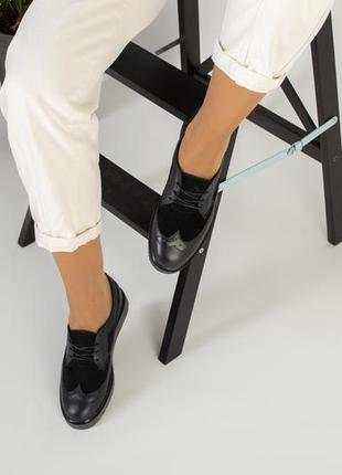 Женские кожаные туфли оксфорды черные