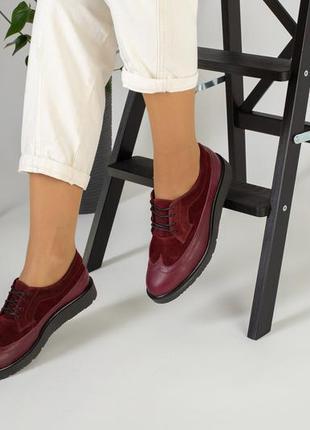 Женские бордовые туфли на шнурках