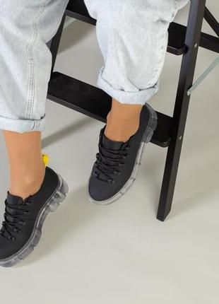 Женские кожаные туфли на прозрачной подошве