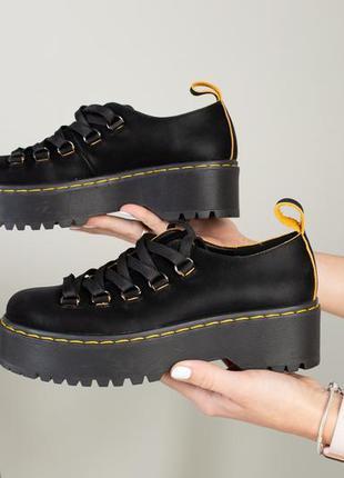 Женские кожаные туфли толстой подошве