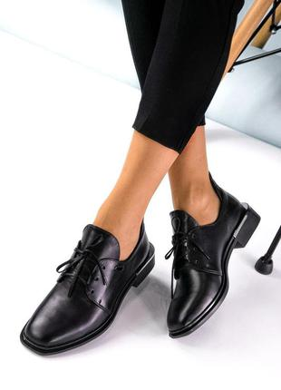 Женские кожаные классические черные туфли на шнурках