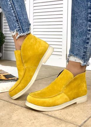 Женские горчичные туфли лоферы