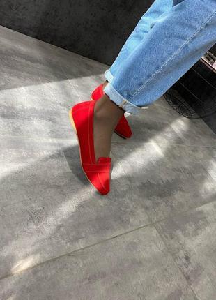 Женские замшевые красные балетки