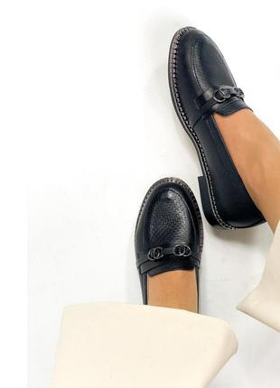 Женские кожаные черные туфли