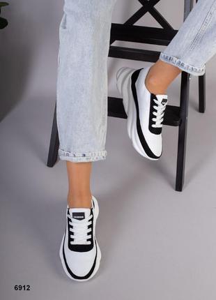 Кожаные кроссовки на оригинальной подошве