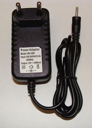 12V 2A зарядка для планшетов тонкий штекер 2,5х0,7 мм