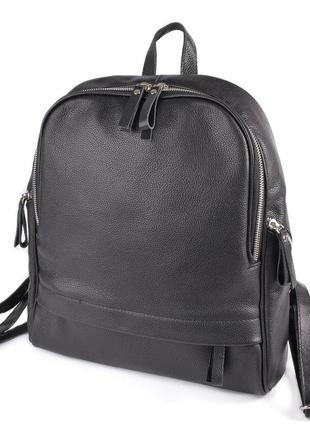 Женский повседневный городской рюкзак из натуральной кожи черный