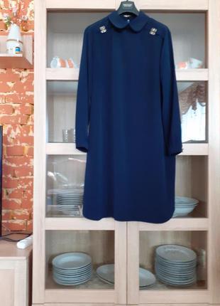 Суперское вискозное с воротничком платье большого размера