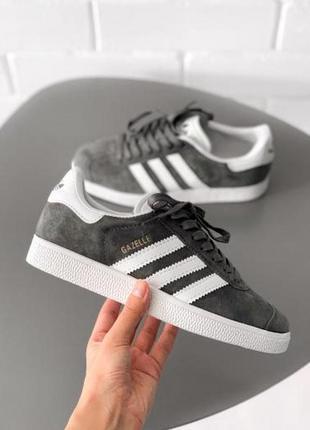 Adidas gazelle grey ✰ женские замшевые кроссовки ✰ серого цвета 😻