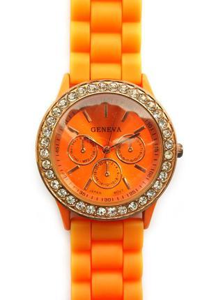 Geneva часы с кристаллами силиконовый ремешок