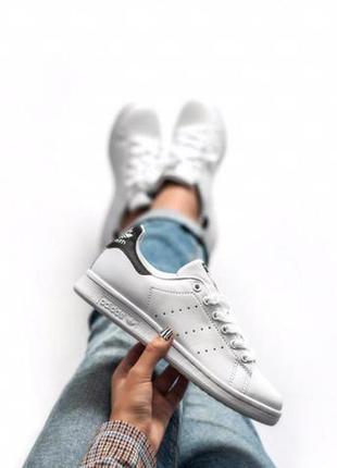 Adidas stan smith white black ✰ женские кожаные кроссовки ✰ бе...