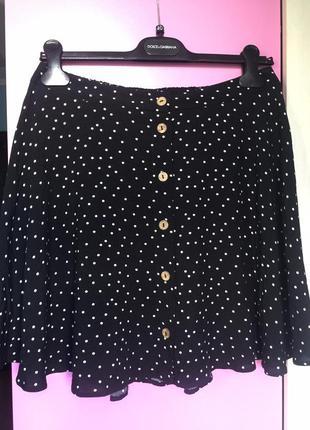 Базовая летняя юбка в горошек из вискозы
