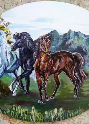 """Картина олією """"Трійка коней"""""""