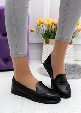 Новые женские кожаные чёрные  туфли лоферы
