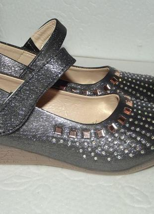 Новые блестящие туфельки для девочки, р. 28 - 34